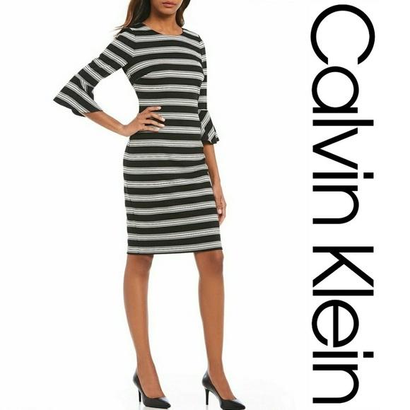 Calvin Klein Dresses Nwt Striped Bell Sleeve Sheath Dress Poshmark